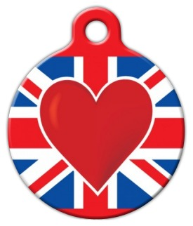 Britain Heart Dog Tag for Dogs