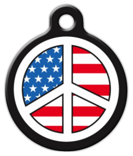 USA Peace Sign Pet ID Tag