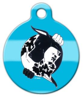 Black & Harlequin Great Dane YinYang Pet Name Tag