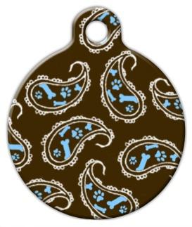 Blue Paisley Dog ID Tag