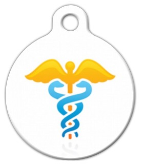 Gold Caduceus Medical Dog Tag