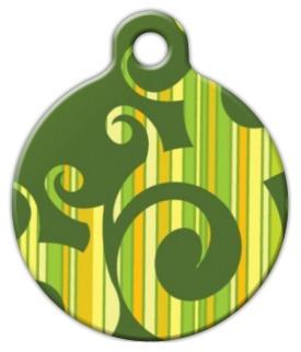 Green Stripe Swirl Pet ID Tag