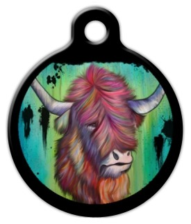 Long Haired Longhorn Dog Collar Tag