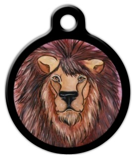 Watercolor Lion Pet Name Tag