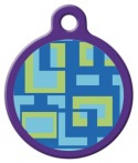 [image] Sea Glass Lupine Pattern Dog ID Tag