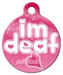 "image:  Deaf Babe - ""I'm deaf ♥ Not Dumb"" v.2 - Dog & Cat ID Tag"