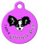 image: I am a Gimpy Pet Purple ID Tag