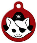 image: Red Kitty Pirate Cat ID Tag