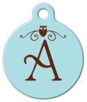image: Owl Monogram A-Z Pet ID Tag