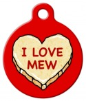 image: I LOVE MEW Candy Heart Tag for Cats