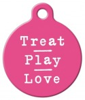 image: Treat Pray Love in Pink Pet ID Tag