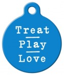 image: Treat Pray Love in Blue Pet Name Tag