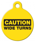 image: Caution Wide Turns Pet ID Tag