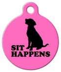 image: Sit Happens in Pink Dog Name Tag