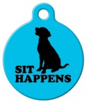 image: Sit Happens in Blue ID Tags for Dogs