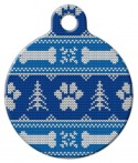 image: Winter Blues Knit Pattern Pet ID Tag