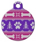image: Girlie Winter Knit Pattern Custom Tag for Dogs