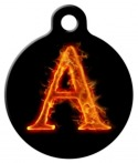 image: Fire Monogram A-Z Custom Dog Collar Tag