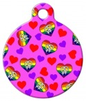 image: Queer Fem Hearts Pet Collar Tag