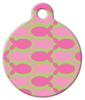 image: Pink Fish on Green ID Tag for Cats