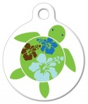image: Hawaiian Hibuscus Turtle ID Tag for Dogs