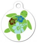 image: Hawaiian Hibuscus Turtle ID Tag for Dogs