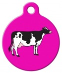 image: Holstein Cow on Magenta Pet ID Tag