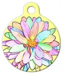 image: Sketched Flower Dog or Cat Pet ID Tag