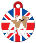 image: English Bulldog with Flag ID Tag for Dogs