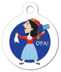 image: Festive Greek Woman Custom Pet Tag