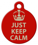 image: Just Keep Calm Designer Pet ID Tag