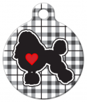 image: Plaid Poodle Love Pet Name Tag
