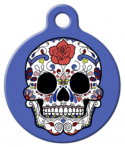 image: Blue Sugar Skull ID Tag for Dogs or Cats