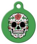 image: Dia De Los Muertos Sugar Skull in Green ID Tag