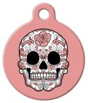 image: Peach Dia De Los Muertos ID Name Tag
