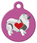 image: Lovely Keeshond in Pink Dog ID Tag