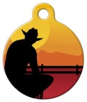 image: Cowboy Silhouette Pet ID Tag