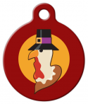 image: Turkey Pilgrim in Red Pet ID Tag