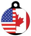 image: America Canada Flag Dog Collar Tag