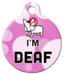 Cute Pink Deaf Dog or Cat Tag