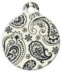 image: Cream and Black Paisley Designer ID Tag