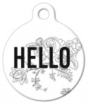 image: Floral Hello ID Tag for Dogs or Cats