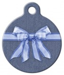 image: Blue Bow on Denim Pet ID Tag