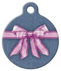 image: Pink Bow on Denim Pet Name Tag