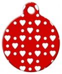 image: Red Heart Pattern Pet ID Tag