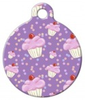 image: Lilac Cupcake Print Dog or Cat ID Tag