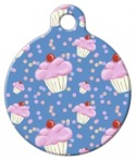 image: Blue Cupcake Pattern Designer Pet Tag