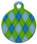 Argyle Blue Pet Name Tag
