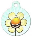 Happy flower pet id tag