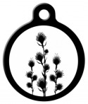 black and white: flora pet tag